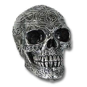 Skull Silver Coloured Celtic Design