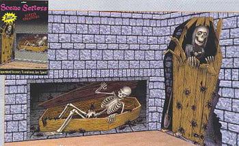 Skelett im Sarg Wandfolie
