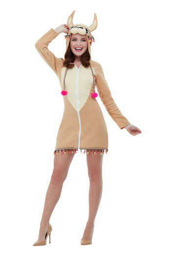 Lama Costume Dress With Hood For Adults