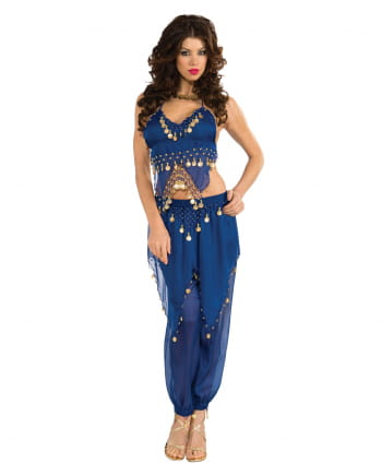 Belly dancer costume blue with coins