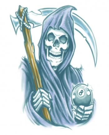 Biker Glue Tattoo Grim Reaper