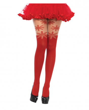 Opaque Snowflake Pantyhose In Red