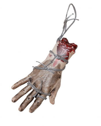 Bloody hand with barbed wire