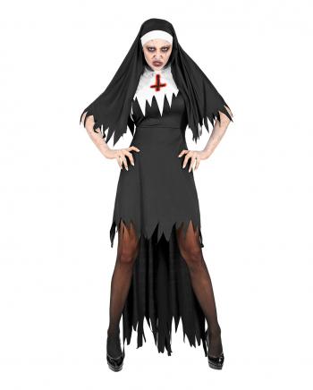 Dämonische Nonne Damenkostüm mit Haube