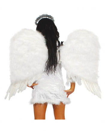 White angel wings with fluff 88 x 96 cm