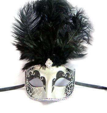 Feather mask venetian black / silver