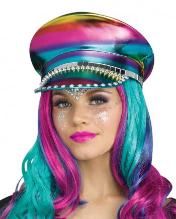 Festival Peaked Cap In Leather Look Rainbow