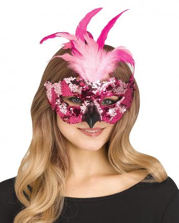 Flamingo Maske mit Federn und Pailletten