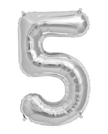 Folienballon Zahl 5 Silber