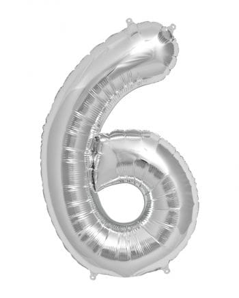 Foil Balloon Number 6 Silver