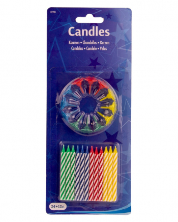 24 Birthday Candles With Holder