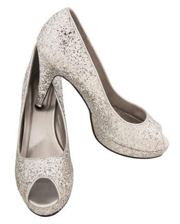 Glitter Peep Toe Pumps Silver