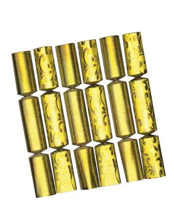Gold shiny Christmas crackers Set of 6