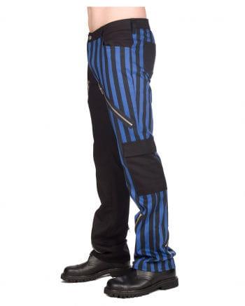 Punk Jeans blau-schwarz gestreift