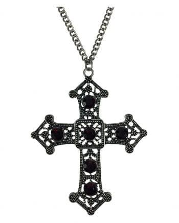 Gothic Necklace With Cross & Rhinestones