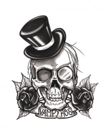 Gothic Glue Tattoo Vampyros Skull