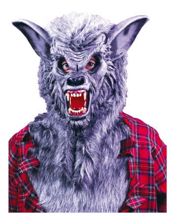 Grey werewolf mask with teeth