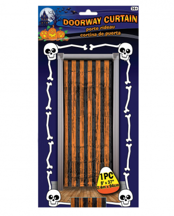 Fringe Door Curtain Orange - Black Metallic