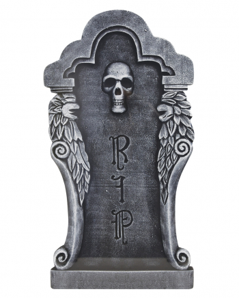Halloween Gravestone Silver Skull