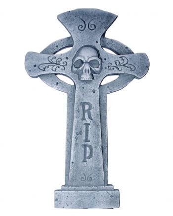 Halloween Grabsteinkreuz R.I.P. & Skull rund