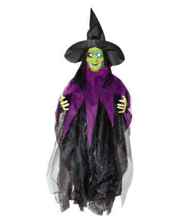 Halloween witch with luminous eyes 87 cm