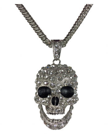 Totenschädel Halskette mit Strass