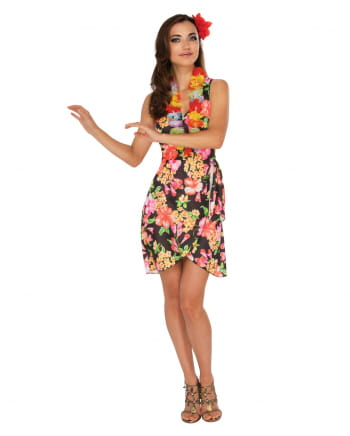 Hawaiian girl costume with flower necklace for summer festivals ...