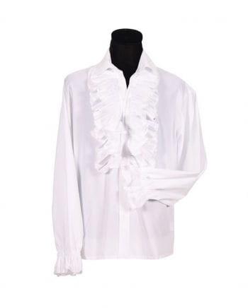 Men white ruffled shirt Plus Size