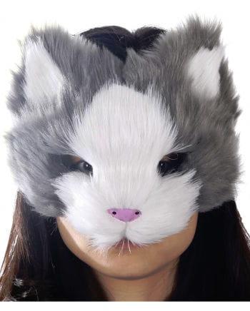 Flauschige Katzenmaske grau/weiß
