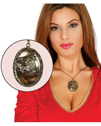 Halskette mit Wolf-Amulett gold