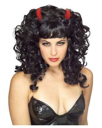 Curly black wig Devil with red horns