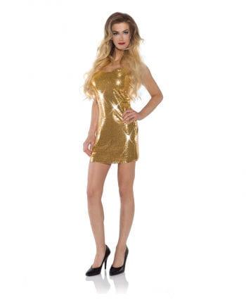 Mini Paillettenkleid gold | Glitzerndes Partykleid | Horror-Shop.com