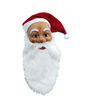 Santa Claus Mask With Plush Beard And Cap