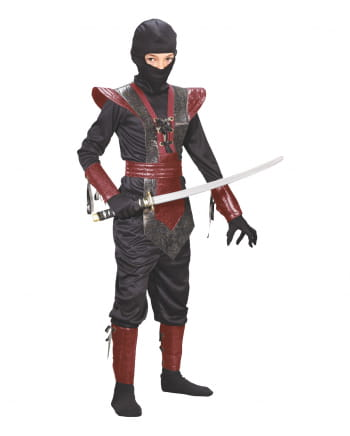 Ninja Fighter Kids Costume Black-red