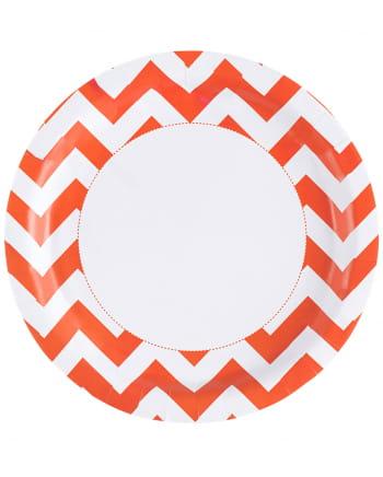 Orange Zig-zag Paper Plate 8 Pcs.