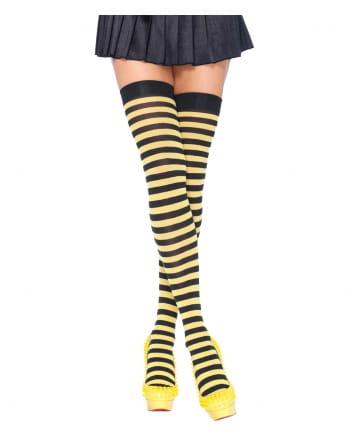 Overknees Biene schwarz-gelb