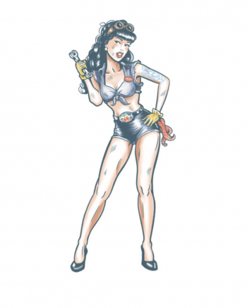 Pin Up Glue Tattoo Sexy Mechanic
