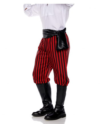 Piraten Kostümhose schwarz-rot gestreift