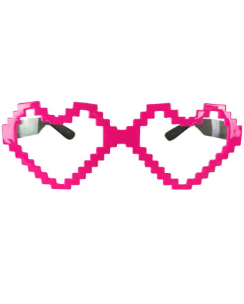 Pixel Heart Glasses neonpink