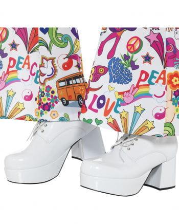 Men disco platform shoes white