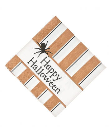 Retro Halloween Napkins With Spider 16 Pcs