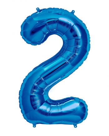 Foil balloon number 2 blue
