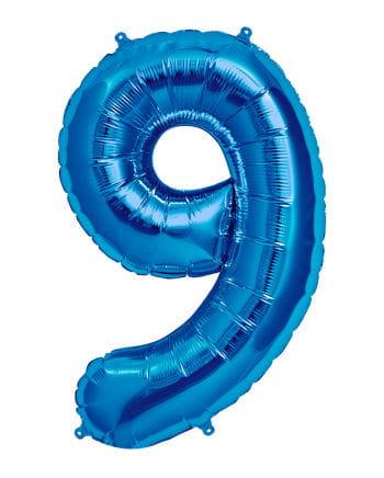 Folienballon Zahl 9 Blau
