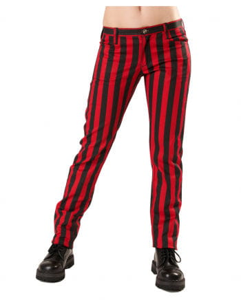 Punk jeans red-black stripes