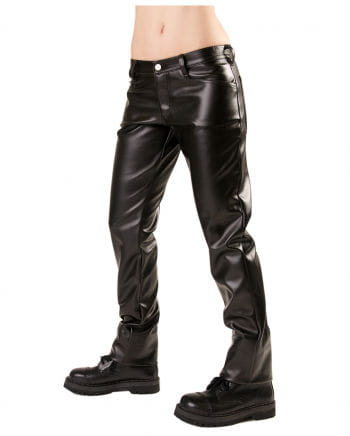 Black Faux Leather Trousers Close Sky