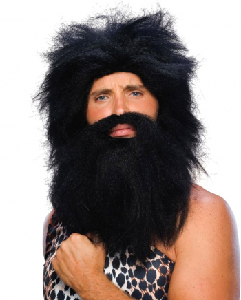 Stone Age wig with beard black