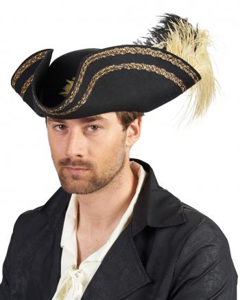 Schwarzer Piratenhut mit Goldborte & Feder