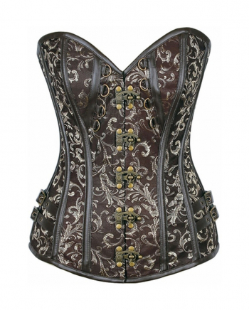 Steampunk Brocade Corset Brown