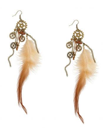 Steampunk Ohrringe mit Federn