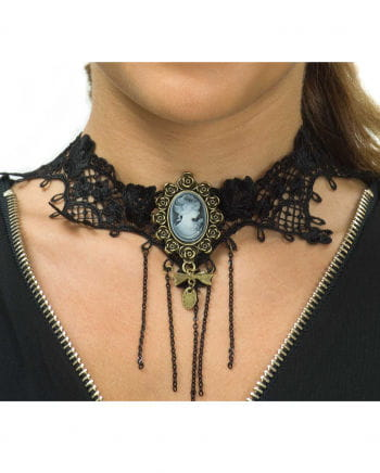 Steampunk Lace Collier With Cameo Pendant